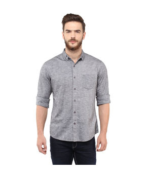 Solid Regular Shirt,  dark grey, s