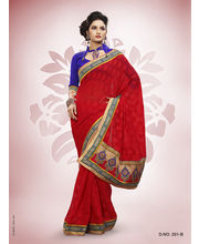 Touch Trends Marble Jaquard Designer Sarees - 251_ B, Red