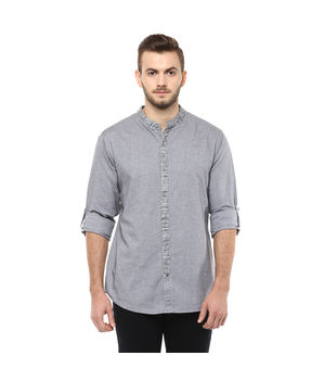 Solid Mandarin Collar Shirt,  dark grey, xl