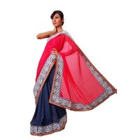 Vamika Georgette Women's Saree, pink and grey