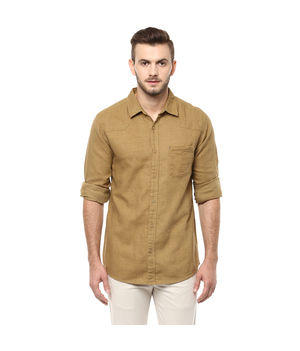 Solid Regular Shirt,  khaki, m