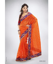 Heavy Embroidery With Pitta & Contrast Thread Work Saree - 241_ B, Orange