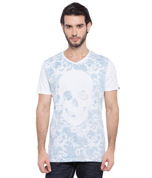 Printed V-Neck T-Shirt, s,  white