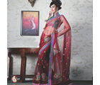 Women Net Red Saree (Red)