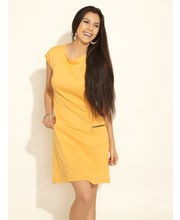 AND Chic Panelled Knit Dress, yellow, 14