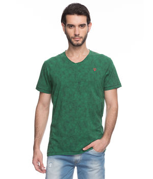Printed V-Neck T-Shirt, s,  green