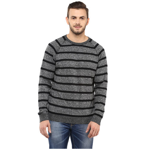 Striped Round-Neck T-Shirt,  black, xxl