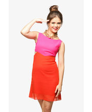Miss Chase Pink Paradise Colorblock Dress (MCPF13D02-05-100), Multicolor, L