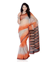 Fabdeal Super Net Printed With Lace Border Saree (LGBSR8917VPS), Multicolor