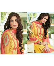 Hypnotex Embroidery Pure Georgette Dress Materials Drops2216, Yellow