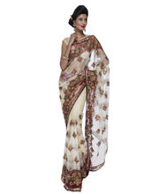 Fav Diva Netantique Work Hand Embroidery Saree, Multicolor