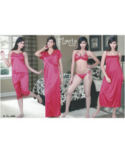 Flavia Six Piece Diva Nightwear (Red)