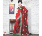 Women Georgette Red Saree (Red)