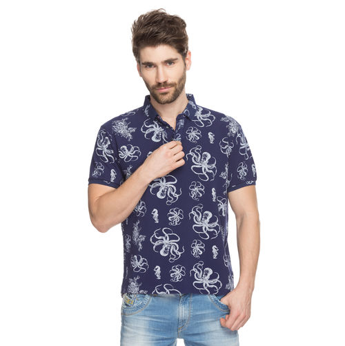 Printed Polo T-Shirt, l,  navy blue