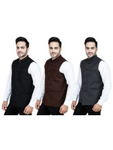 Stylox Combo of 3 Modi Jacket, brown and grey and black, 40