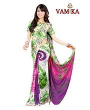 Vamika Printed Georgette Saree-VMS0095, Multicolor