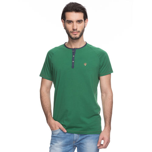 Printed Round Neck T-Shirt, l,  green