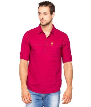 Solid Regular Slim fit shirt, m,  wine