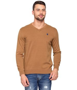 Solid Flat Knit V Neck T-Shirt, l,  khaki