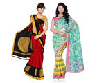 Fabdeal Super Net & Silk Printed Saree Combo Of 2 (JGCR6184C8903RMVP), multicolor