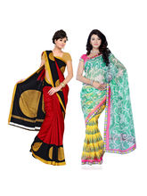Fabdeal Super Net & Silk Printed Saree Combo Of 2 ...