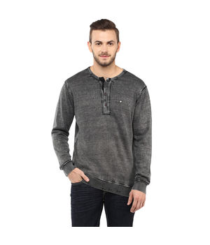 Light Knit Wear Stand Collar T Shirt,  charcoal, m