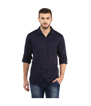 Printed Regular Slim Fit Shirt,  navy blue, s