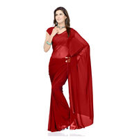 Vamika Faux Georgette Plain Saree with Unstitched Blouse,  maroon
