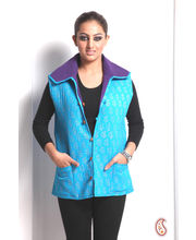 Sleeveless True Blue Puffer Jaipuri Cotton Jacket (Multicolor, M)