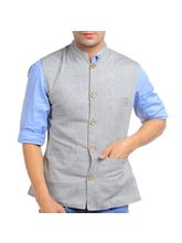 Sobre Estilo Solid Men Nehru Jacket - WV0012854, grey, m