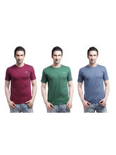 Crosscreek Round Neck Basic T-Shirt (3 Pc Combo) - 810003, Multicolor, M
