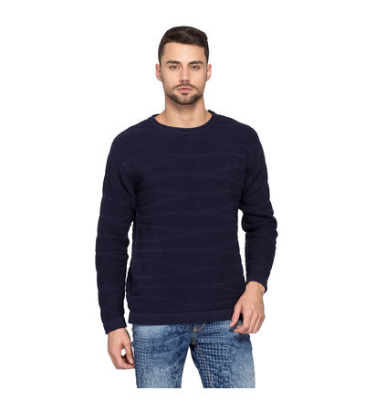 Solid Round Neck Sweater,  navy, l
