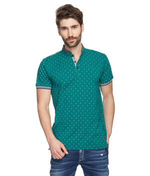 Printed Polo Stand Collar T-Shirt, m,  green