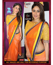 Bollywood Replica Kareena Kapoor Net Saree Sleeves By Ragini Sarees, Multicolor