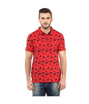 Printed Polo T Shirt,  red, xl