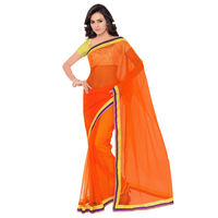 Vamika Georgette Women's Saree,  orange