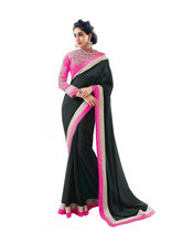 Bikaw Embroidered Georgette Traditional Partywear Saree, black