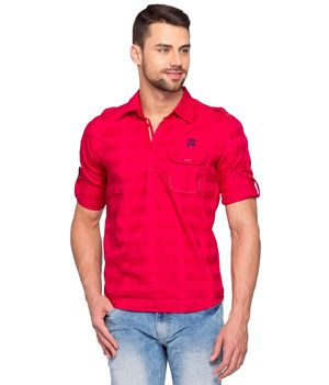 Solid Polo Slim fit T- Shirt, m,  red