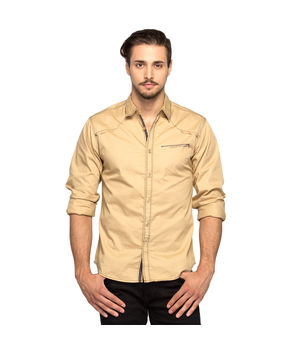Solid Regular Slim Fit Shirt, xl,  beige