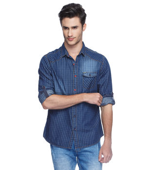 Checks Regular Slim Fit Shirt, m,  blue