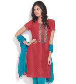 ALMA Embroidered Hint Kurta, red, l