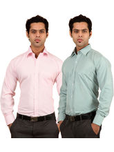 D&Y Semi Formal Cotton Shirt In In Two Different Stripes (Multicolor, L)