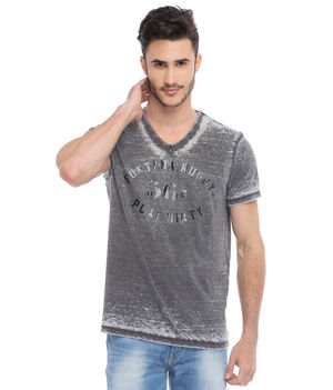 Printed V-Neck T-Shirt, s,  black
