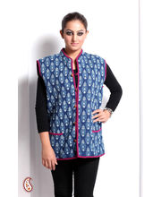 Block Print Jaipuri Quilted Reversible Jacket (Multicolor, L)