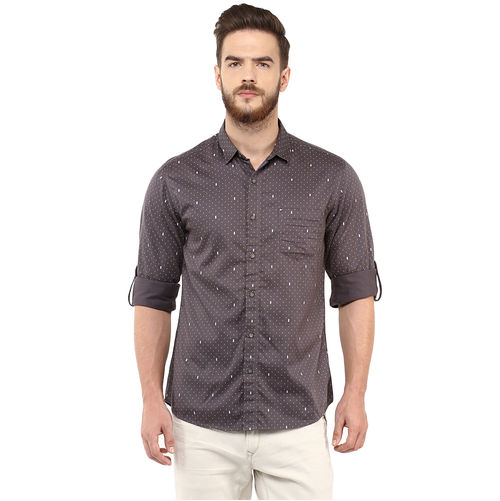 Printed Regular Slim Fit Shirt, m,  grey