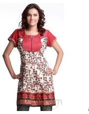 Impressive Off-white Red embroidered cotton kurta