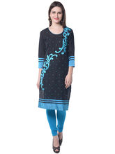 Navriti Women's Embroidered Cotton Kurta, s, black