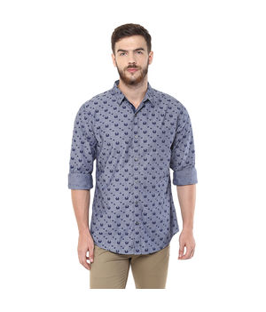 Printed Regular Slim Fit Shirt,  grey, s