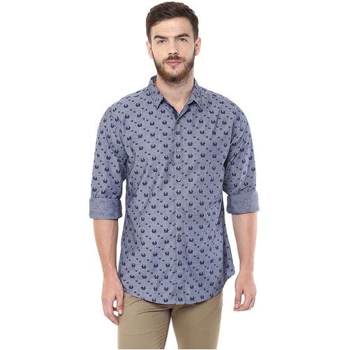 Printed Regular Slim Fit Shirt, s,  grey
