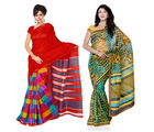 Fabdeal Super Net & Silk Printed Saree Combo Of 2 (JRCR6695B8914RMVP), multicolor